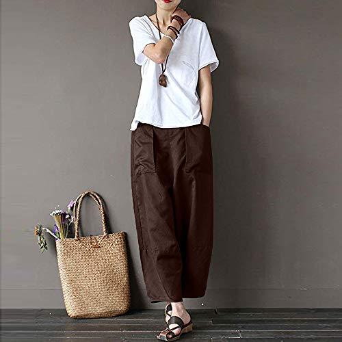Femme Pants Manadlian Linge Haute Pantalon Sport Taille Maison Brown Casual De Jogging pantalon qOOwIv