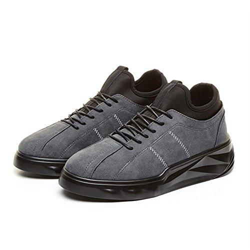 Men's Shoes Feifei Spring and Autumn Fashion Thick Bottom Leisure Wear-Resistant Tide Shoes 3 Colors (Color : Gray, Size : EU43/UK9/CN44)