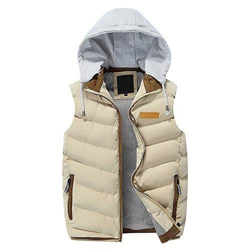 Sunhusing Autumn Winter Men's Detachable Hooded Thick Vest Outwear Large Size Cotton-Padded Gilet Coat