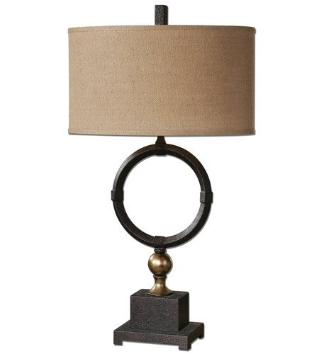 (Uttermost 26296-1 Pueblo Circle Table Lamp 1 Light with Black Circle Metal Fabric Oval Hardback 32 inch 150 Watts )
