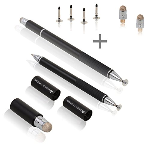 The Friendly Swede 3-in-1 Hybrid Pen, Capacitive Fiber and Fine Point Disc Stylus, with Ballpoint Pen and Replaceable Tips (2 Pack)