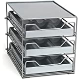 Lipper International 8720 Three-Tier Tilt Down Kitchen and Cooking Spice Drawer, Silver/Gray