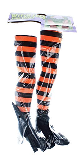 Witches Legs Halloween Decorations (Fun World Striped Witch Legs Yard Stakes)