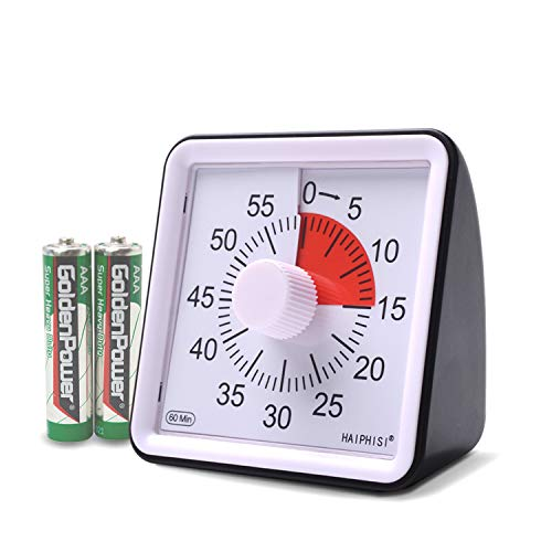 60 Minute Visual Analog Timer-Silent Timer Time Management Tool for Classroom or Meeting Countdown Clock for Kids and Adults (Black)