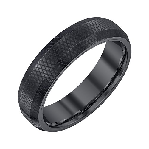 AX Jewelry Mens 6mm Black Tungsten Band with Pattern