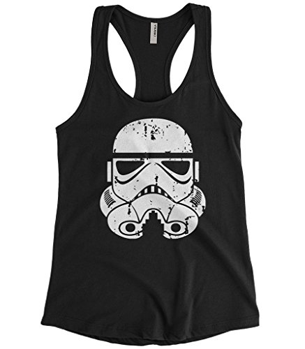Cybertela Women's Distressed Stormtrooper Storm Trooper Racerback Tank Top (Black, ()