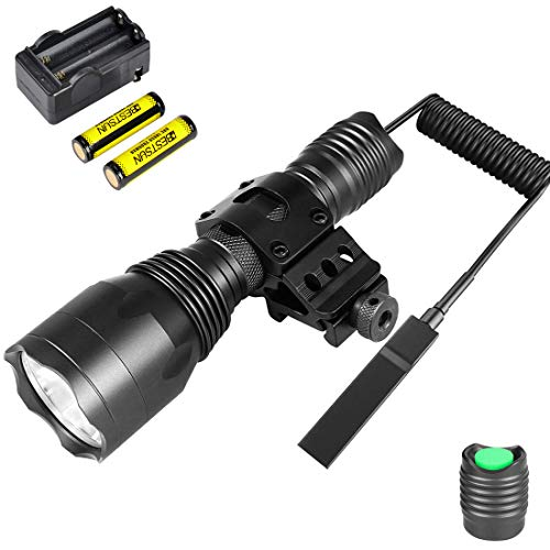 (BESTSUN Tactical Flashlight 1200Lumens Waterproof Cree L2 LED Hunting Light with Picatinny Rail 45° Offset Side Mount, Pressure Switch, Rechargeable Batteries and Charger)