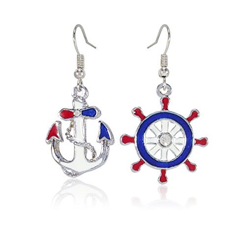 New Design Nautical Anchor & Ship's Wheel Fashion Blue Red and White Dangle Earrings, Jewelry