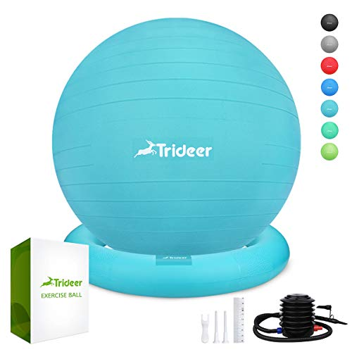 Trideer Ball Chair - Exercise Stability Yoga Ball with Base for Home and Office Desk, Ball Seat, Flexible Seating with Ring & Pump, Improves Balance, Back Pain, Core Strength & Posture(Ball with Ring
