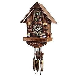 Sinix SN802 Handcrafted Antique Wooden Cuckoo Pendulum Wall Clock, Brown