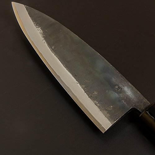 ''MOTOKANE'' Deba hocho (Kitchen Knife) 210mm(abt 8.3'') Kurouchi, Blade Edge : Aogami Steel Double Bevel