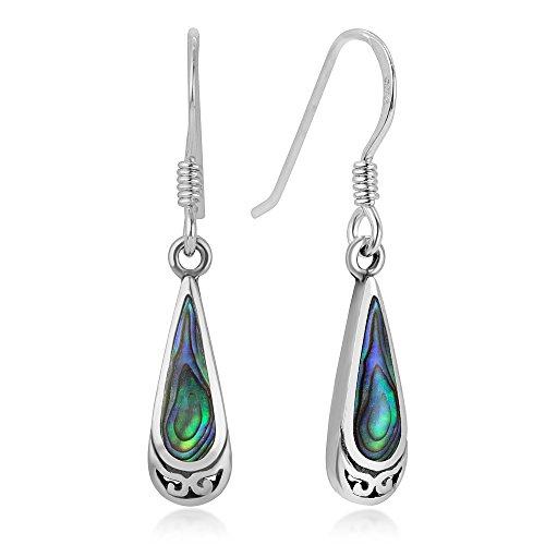 (925 Sterling Silver Bali Inspired Green Abalone Shell Celtic Design Dangle Hook Earrings)