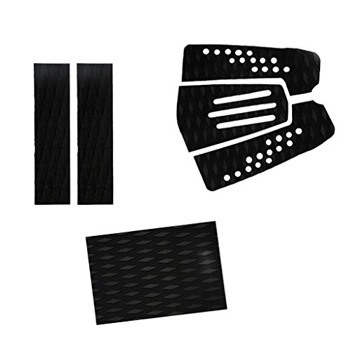 MagiDeal 6 Pieces Adhesive Non-slip Black EVA Traction Pad Deck Grip Tail Pads for Surfboard Surf SUP Skimboard Shortboard Longboard by MagiDeal
