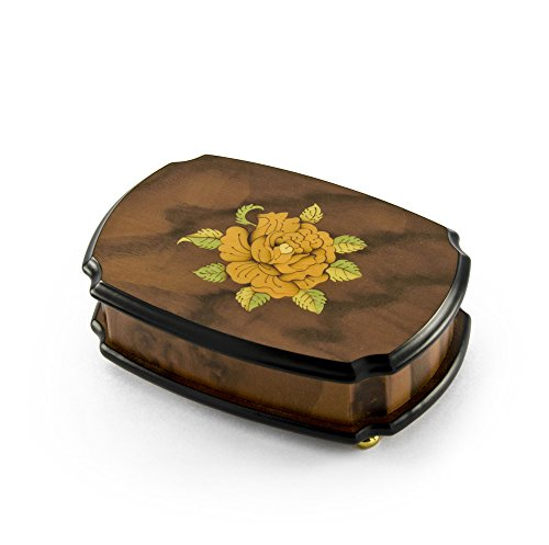 Handcrafted 18 Note Single Rose Sorrento Musical Jewelry Box - Rock of Ages - Christian Version by MusicBoxAttic