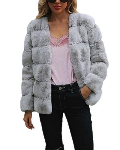 Corto Di Elegante Faux Parka Maniche Pelliccia Donna Grigio Giacca Suncaya Cappotti Outwear Lunghe Cappotto EYZRwAqq