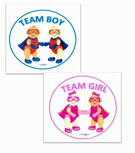 April's Got It Sneak Peek Gender Reveal Baby Shower Pink and Blue Decorations Stickers| Compliments Gender Reveal Smoke Bombs, Confetti Poppers | 40 Gender Voting Predictor Stickers, Super Hero Themed