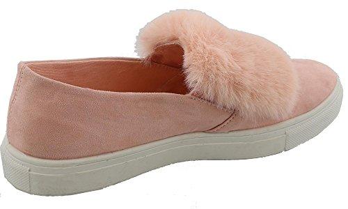 Top Moda Dames Namaakbont Pom Pom Slip Op Platform Mode Sneaker Blos