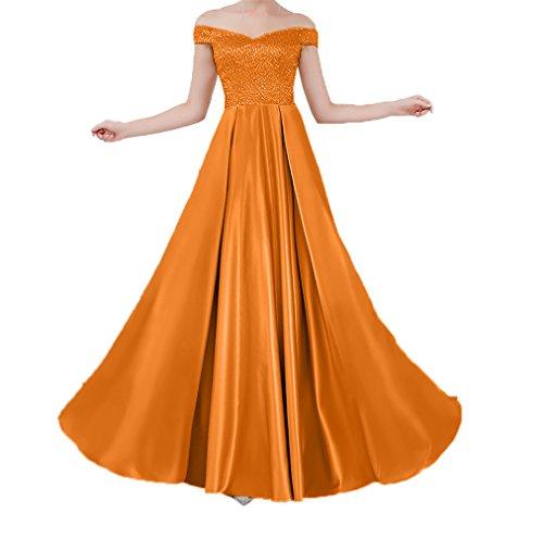 linie Steine Orange Schulterfrei Partykleider Satin Lang Brautjungfernkleider Ballkleider Charmant A Damen Abendkleider vESawvBq
