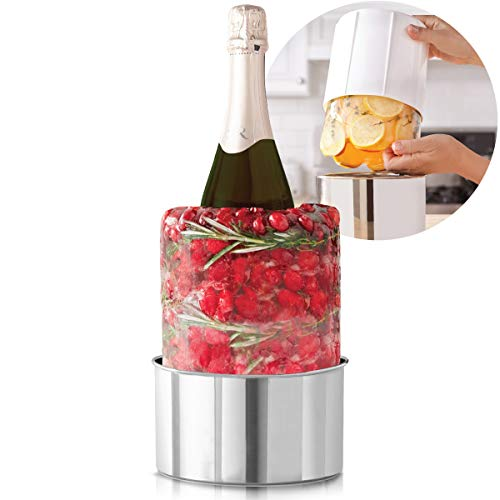 Laura Ashley Champagne Bucket Ice Mold, Create a Custom Ice Bucket for Wine or Liquor Bottles, Includes Stainless Steel Drip Tray, Add Decorations for a Unique Centerpiece