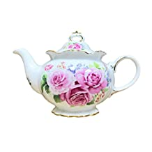 Hampstead Collection Porcelain Pink Roses Teapot 1000ml (8 Cups)