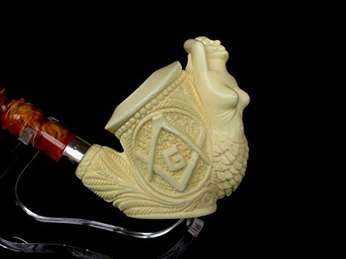 Rare Masonic Mason Mermaid Nude Turkish Block Meerschaum Pipe Big w/Silver 8236