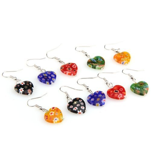 Earrings - TOOGOO(R) 5 pairs of earrings Murano millefiori pendants heart (Millefiori Blue Heart Earrings)