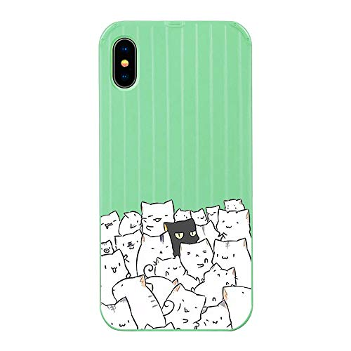 Fantasydao Compatible with iPhone XR,Ultra Thin & Light Slim Case Cute Luggage Stripe Pattern Tempered Glass Back Cover + Soft TPU Frame Protection Bumper Shell for iPhone XR(Green+Cat) (Apple Iphone 3gs 32gb Price In India)