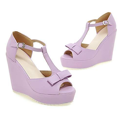 Boucle Sandales Talon Ouverture à Violet Haut Femme Unie Couleur d'orteil TSFLG005490 AalarDom A5wqaZO