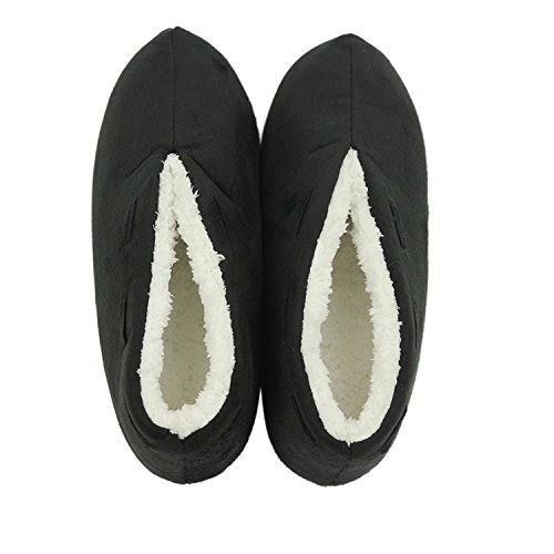 Warm Plush Slip House Women's Indoor Black Slip on Non Shoes Boots Forfoot Slippers qwZExtYxR