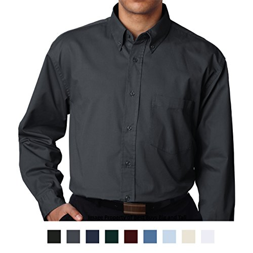 Dark Gray Dress Shirt - UltraClub Big Men's Long Sleeve Dress Shirt 3XL Dark Gray