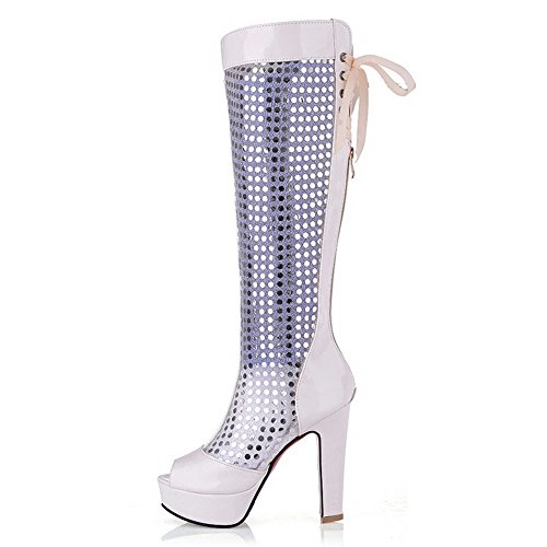 AgooLar Women's Patent Leather Peep Toe High-Heels Zipper Solid Sandals White 9dPoD2FTEb