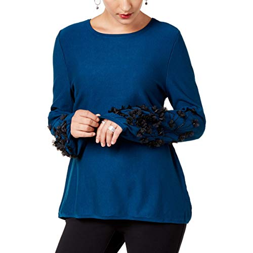 Alfani Womens Embellished Bishop Sleeves Pullover Sweater XL, Ocean Teal from Alfani