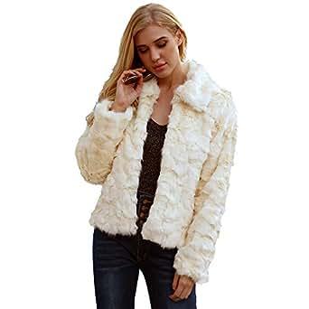 VESNIBA Womens Ladies Warm Artificial Wool Coat Jacket Winter Parka Outerwear Beige at Amazon