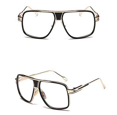 Sol Con With Optical Ring Black De Gafas WHLDK De Parejas Box Sol Big Hombres Box The Elegantes Gafas Los De Retro Lens Redonda Cara Sol Estilo Y Gafas Flat w40gTq