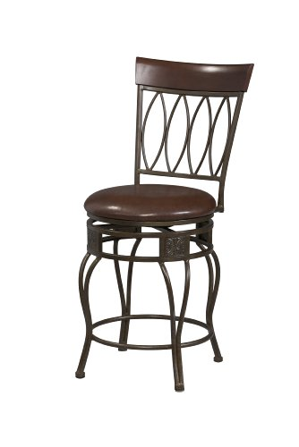 Finish Bar Bronze - Linon Matte Bronze Finish Four Oval Back Bar Stool with Swivel Seat