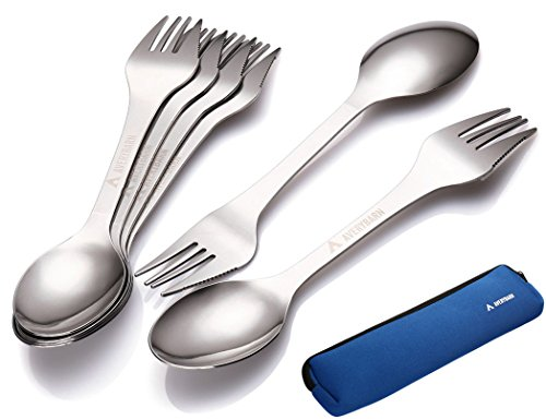 Avery Barn 6pc All-In-One Camping Utensils Cutlery Set - Spork Stainless Steel - Survival Gear Supplies for Backpacking Hiking Compact Mess Kit - 3-in-1 Fork Knife Spoon with Travel Case by Avery Barn