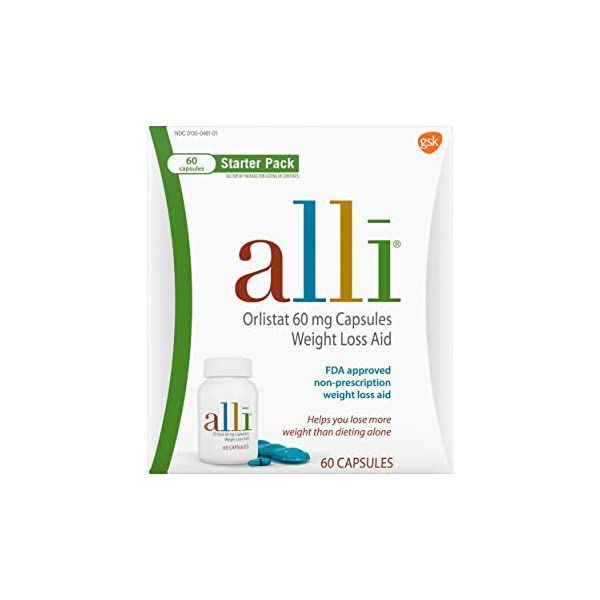 Health Shopping alli Diet Weight Loss Supplement Pills, Orlistat 60mg Capsules Starter Pack, Non