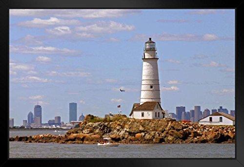 Boston Harbor Lighthouse - Boston Light Lighthouse Little Brewster Island Photo Art Print Framed Poster 20x14 inch