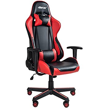 Merax Ergonomic High Back Swivel Racing Style Gaming Chair PU Leather with Lumbar Support and Headrest (Red)