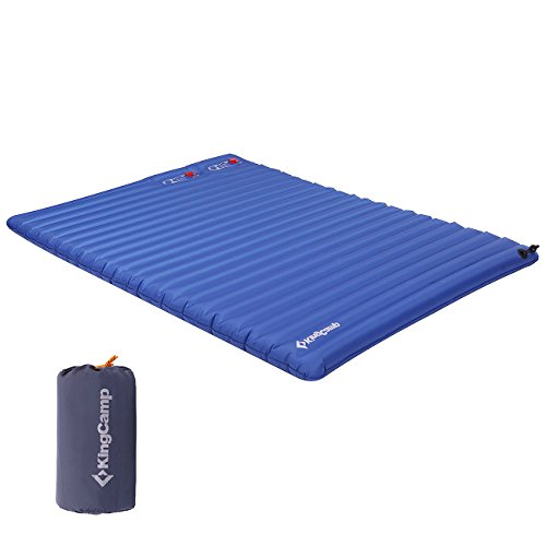 Double Foot Pump - KingCamp Light Double Size Outdoor Camping Air Mattress Mat Pad Bed with Built-in Foot Pump, Blue, Double