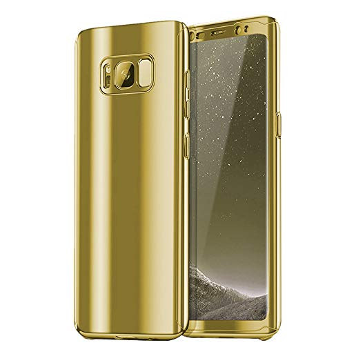 Mirror Screen Cover - Case for Galaxy S8 Plus Case 3 in 1 Full Body Plating Mirror Protective Cover+Screen Protector Galaxy S8 Phone case (Samsung Galaxy S8 Plus, Gold)