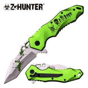 "Master Cutlery ZB-110GN Z-Hunter 5"" Folder, Green Z Coating Satin Blade, Black Pattern on Green Handle with Clip"