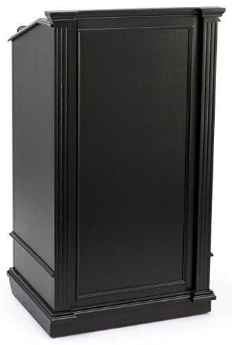 Displays2go Restaurant Hostess Podium with Drawer and Cabinet, Hidden Locking Wheels, Black (LCTCL27BK) For Sale