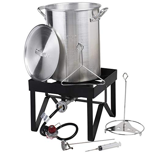 Backyard Pro 30 Qt. Aluminium Turkey Fryer Kit - 55,000 BTU Propane Outdoor Fry Cooking + Many Useful Accessories
