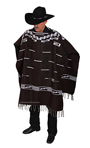 Handwoven Clint Eastwood Spaghetti Western Poncho Made in Mexico (Dark Brown) ()