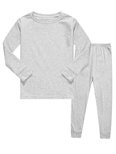 KikizYe Kids Pajamas Boys & Girls Solid Colors 2 Piece Pajama Set 100% Cotton Toddler Grey Size 3T ()