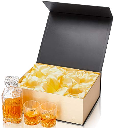 KANARS Whiskey Decanter And Glass Set In Unique Luxury Gift Box - Original Crystal Liquor Decanter Set For Bourbon, Scotch or Whisky, 5-Piece by KANARS (Image #3)