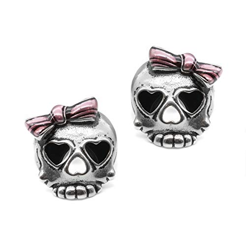 Controse Bejeweled Badass in Pink Skull Earrings
