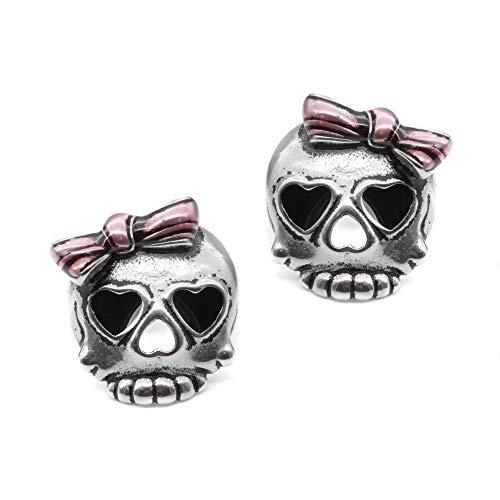Controse Bejeweled Badass in Pink Skull Earrings -