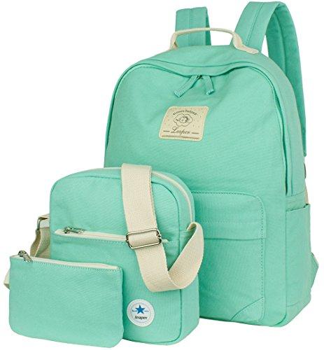 Leaper Casual-Stil Leichte Canvas Laptop Schulranzen Tasche Daypacks/Schulrucksack + Umhängetasche + Stiftmappe - 3PCS(Groß,Hellblau)